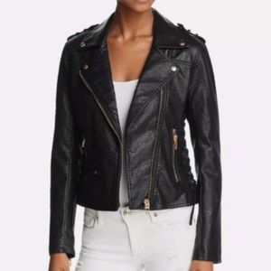 Blank NYC Lace Up Faux Leather Moto Jacket